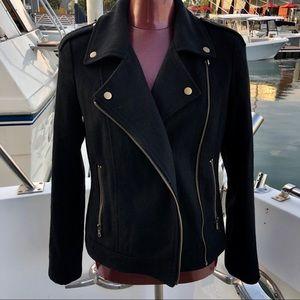 👍Silence +Noise Black Wool Moto Jacket